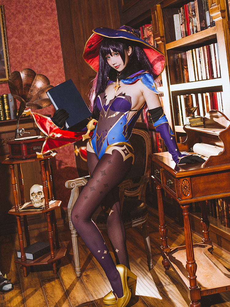 Cosonsen Genshin Impact Mona Cosplay Costume Mona Megistus Astrologer Outfit with Hat Custom Made