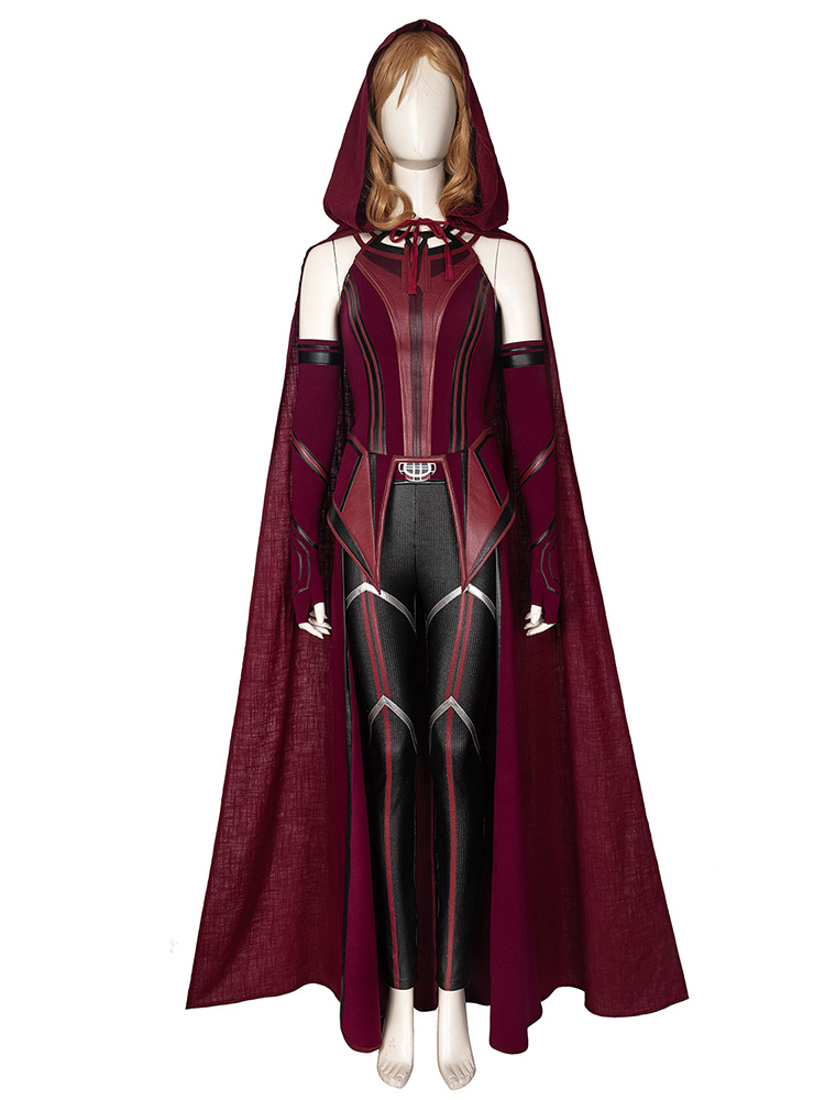 Cosonsen Wanda Vision Scarlet Witch Wanda Cosplay Costume Full Set with Mask Halloween outfits